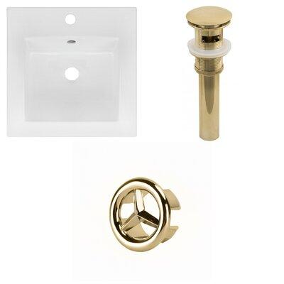 Ceramic 17 Single Bathroom Vanity Top Faucet Mount: Single, Drain Color: Gold