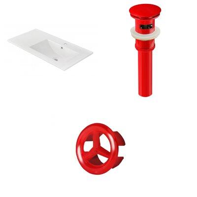 Drake 36 Single Bathroom Vanity Top Faucet Mount: Single, Drain Color: Red, Overflow Cap Color: Red