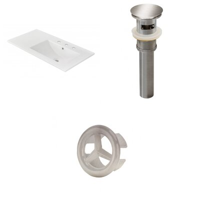 Drake 36 Single Bathroom Vanity Top Faucet Mount: 8 Centers, Drain Color: Brushed Nickel, Overflow Cap Color: Brushed Nickel