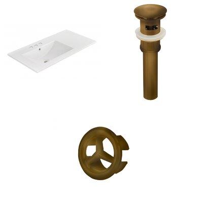 Drake 36 Single Bathroom Vanity Top Faucet Mount: 4 Centers, Drain Color: Antique Brass, Overflow Cap Color: Antique Brass