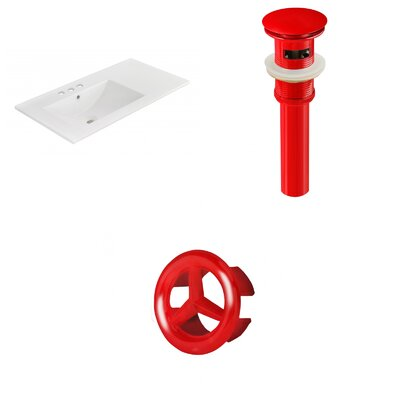 Drake 36 Single Bathroom Vanity Top Faucet Mount: 4 Centers, Drain Color: Red, Overflow Cap Color: Red