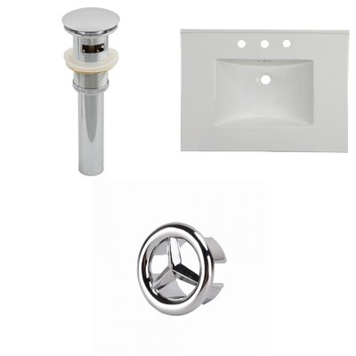 31 Single Bathroom Vanity Top Faucet Mount: 8 Centers, Overflow Cap Color: Chrome