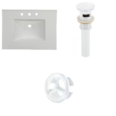 31 Single Bathroom Vanity Top Faucet Mount: 8 Centers, Overflow Cap Color: White