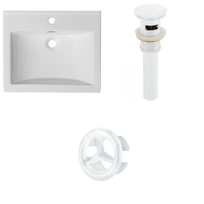 Vee Ceramic 21 Single Bathroom Vanity Top Faucet Mount: Single, Drain Color: White