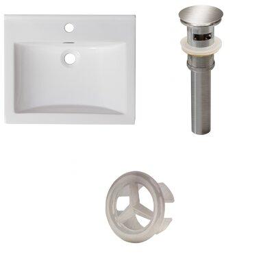 Vee Ceramic 21 Single Bathroom Vanity Top Faucet Mount: Single, Drain Color: Antique Brass