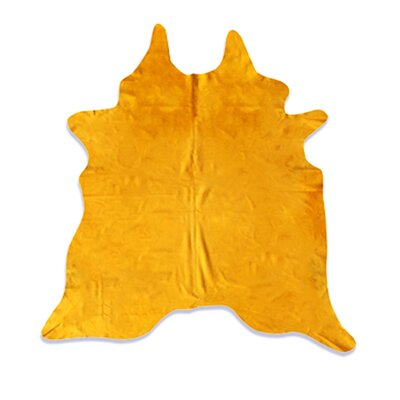 Whisenant Hand Woven Cowhide Yellow Indoor Area Rug