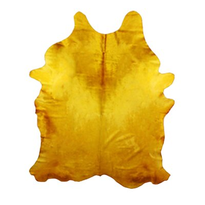 Whisenhunt Hand Woven Cowhide Yellow Indoor Area Rug