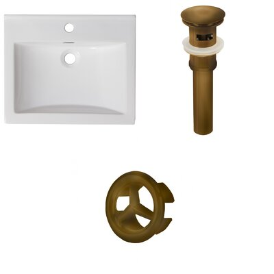 Vee Ceramic 21 Single Bathroom Vanity Top Faucet Mount: Single, Drain Color: Brushed Nickel