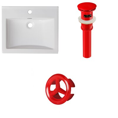 Vee Ceramic 21 Single Bathroom Vanity Top Faucet Mount: Single, Drain Color: Red