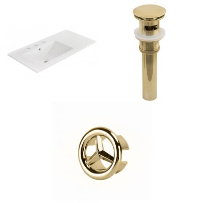 Drake 36 Single Bathroom Vanity Top Faucet Mount: 8 Centers, Drain Color: Gold, Overflow Cap Color: Gold