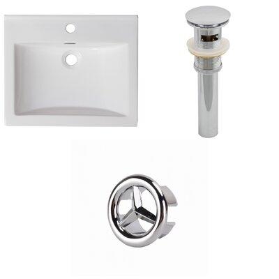 Vee Ceramic 21 Single Bathroom Vanity Top Faucet Mount: Single, Drain Color: Chrome