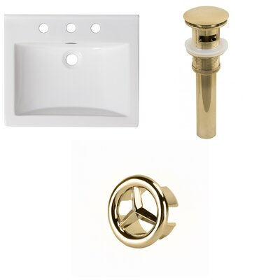 Vee Ceramic 21 Single Bathroom Vanity Top Faucet Mount: 8 Centers, Drain Color: Gold