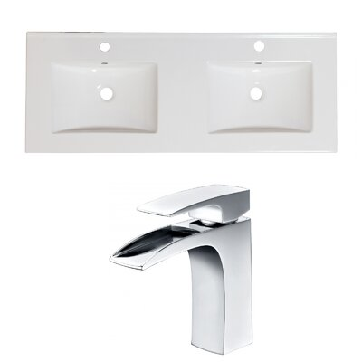 Ceramic 48 Double Bathroom Vanity Top