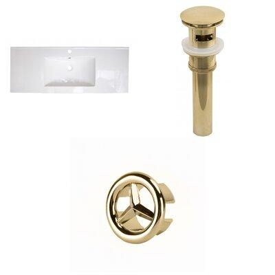Flair Ceramic 49 Single Bathroom Vanity Top Drain Color: Gold