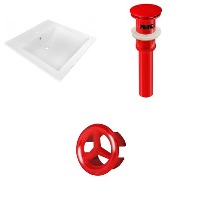 Ceramic 22 Single Bathroom Vanity Top Faucet Mount: Single, Drain Color: Red