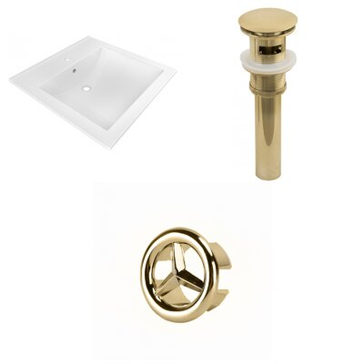 Ceramic 22 Single Bathroom Vanity Top Faucet Mount: Single, Drain Color: Gold