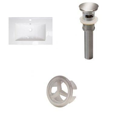 Roxy Ceramic 24 Single Bathroom Vanity Top Faucet Mount: Single, Overflow Cap Color: Brushed Nickel