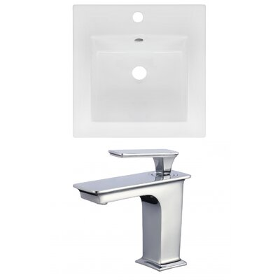 1 Hole Ceramic Square Drop-In Bathroom Sink with Faucet