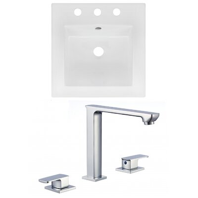 3 Hole Ceramic Square Drop-In Bathroom Sink with Faucet