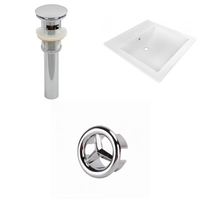 Ceramic 22 Single Bathroom Vanity Top Faucet Mount: Single, Drain Color: Chrome