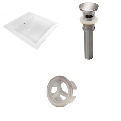 Ceramic 22 Single Bathroom Vanity Top Faucet Mount: Single, Drain Color: Brushed Nickel