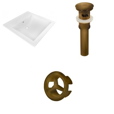 Ceramic 22 Single Bathroom Vanity Top Faucet Mount: Single, Drain Color: Antique Brass