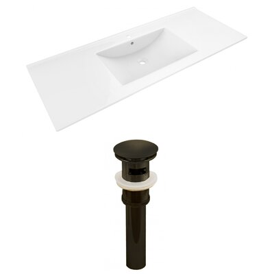 Alum Ceramic 48 Single Bathroom Vanity Top Faucet Mount: Single, Drain Color: Oil Rubbed Bronze