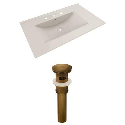 Ceramic 36 Single Bathroom Vanity Top Faucet Mount: 8 Centers