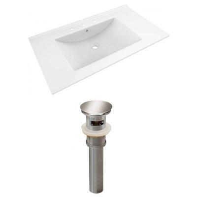 Drake 36 Single Bathroom Vanity Top Faucet Mount: 8 Centers, Drain Color: Brushed Nickel
