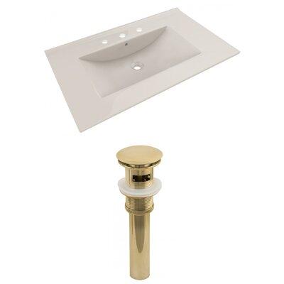 Ceramic 36 Single Bathroom Vanity Top Top Finish: Biscuit, Faucet Mount`: 8 Centers