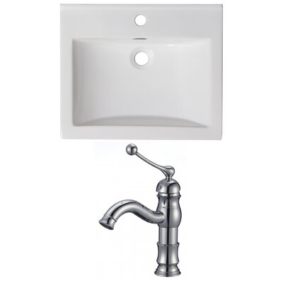 1 Hole Ceramic Rectangular Drop-In Bathroom Sink with Faucet and Overflow