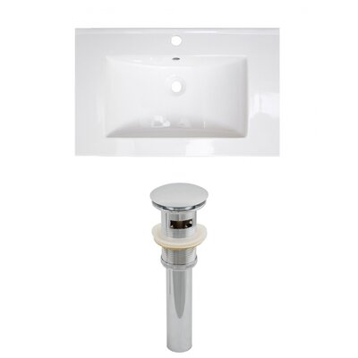 Roxy Ceramic 24 Single Bathroom Vanity Top Faucet Mount: Single, Drain Color: Brushed Nickel