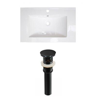 Roxy Ceramic 24 Single Bathroom Vanity Top Faucet Mount: Single, Drain Color: Black