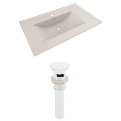 Drake 36 Single Bathroom Vanity Top Faucet Mount: Single, Drain Color: White