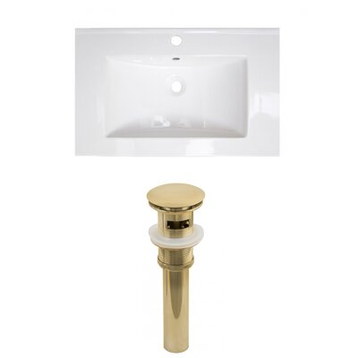 Roxy Ceramic 24 Single Bathroom Vanity Top Faucet Mount: Single, Drain Color: Gold