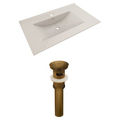 Ceramic 36 Single Bathroom Vanity Top Faucet Mount: Single