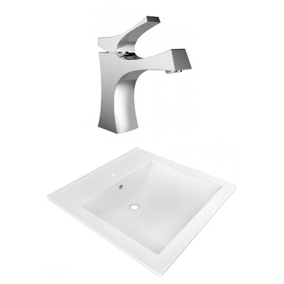 1 Hole Ceramic Rectangular Vessel Bathroom Sink with Faucet and Overflow
