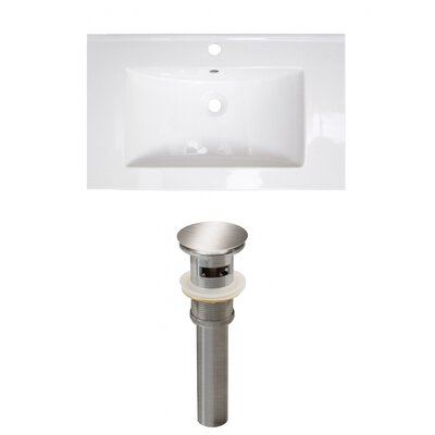 Roxy 32 Single Bathroom Vanity Top Faucet Mount: Single, Drain Color: Brushed Nickel