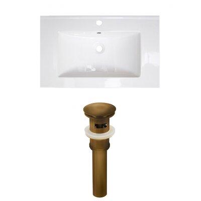 Roxy 32 Single Bathroom Vanity Top Faucet Mount: Single, Drain Color: Antique Brass
