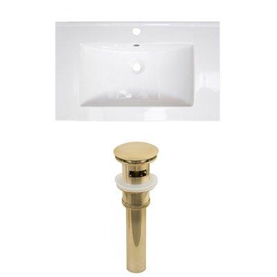 Roxy 32 Single Bathroom Vanity Top Faucet Mount: Single, Drain Color: Gold