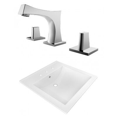 Ceramic Rectangular Drop-In Bathroom Sink with Faucet and Overflow