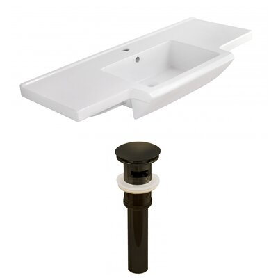 Prelude Ceramic 40 Single Bathroom Vanity Top Faucet Mount: Single, Overflow Cap Color: Oil Rubbed Bronze