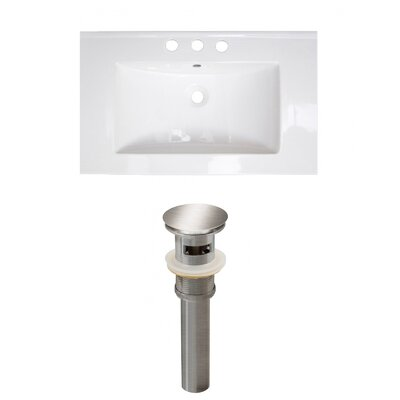 Roxy 32 Single Bathroom Vanity Top Faucet Mount: 8 Centers, Drain Color: Brushed Nickel