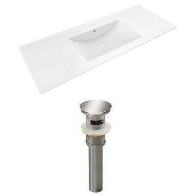 Alum Ceramic 48 Single Bathroom Vanity Top Faucet Mount: Single, Drain Color: Chrome
