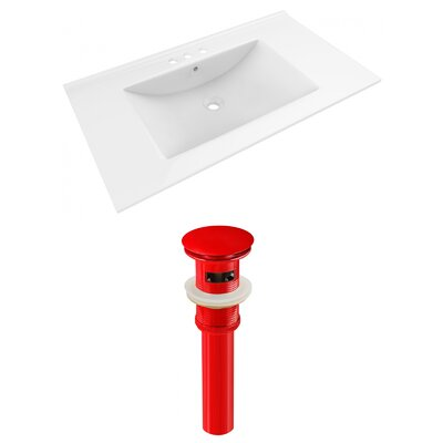 Drake 36 Single Bathroom Vanity Top Faucet Mount: 4 Centers, Drain Color: Red
