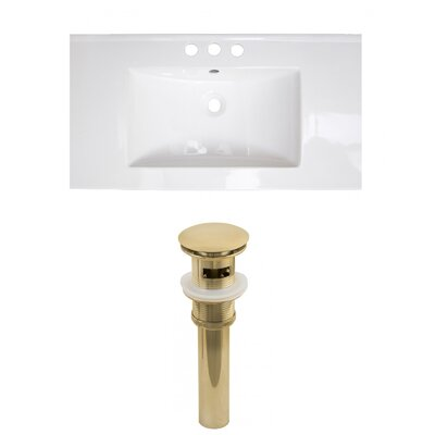 Roxy 32 Single Bathroom Vanity Top Faucet Mount: 8 Centers, Drain Color: Gold