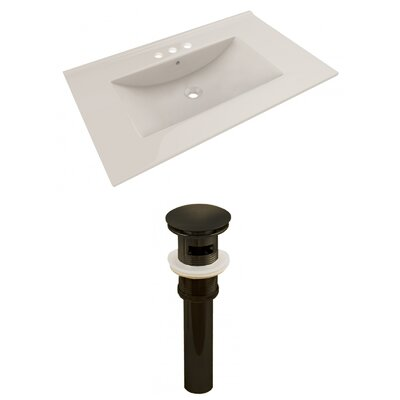 Ceramic 36 Single Bathroom Vanity Top Top Finish: Biscuit, Faucet Mount: 4 Centers