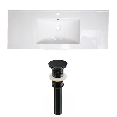 Ceramic 40 Single Bathroom Vanity Top Faucet Mount: Single, Drain Color: Black