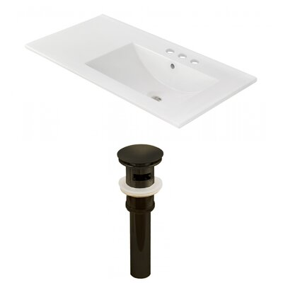 Ceramic 36 Single Bathroom Vanity Top Faucet Mount: 4 Centers