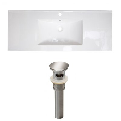 Ceramic 40 Single Bathroom Vanity Top Faucet Mount: Single, Drain Color: Brushed Nickel